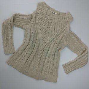 Francesca's MIAMI Cold Shoulder Cream Knit Sweater